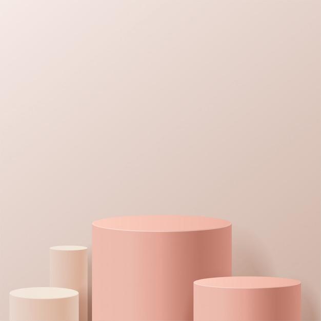Scena minimale con forme geometriche. podi del cilindro nel fondo crema. scena per mostrare prodotti cosmetici, vetrina, vetrina, vetrina. illustrazione 3d Vettore Premium