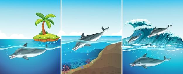 Scena oceano con il nuoto dei delfini Vettore gratuito