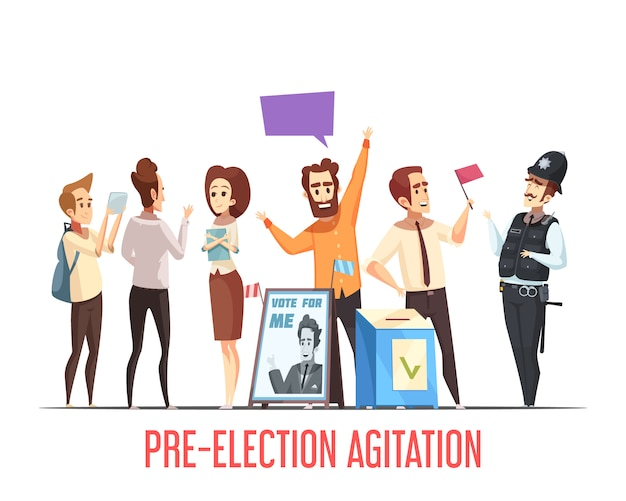 Scena pre-elettorale politica dei cartoni animati Vettore gratuito