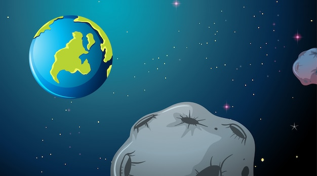 Scena spaziale di terra e asteroidi Vettore gratuito
