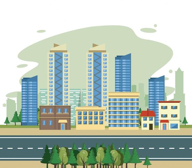 Scenario di vista di paesaggio urbano delle costruzioni urbane Vettore gratuito