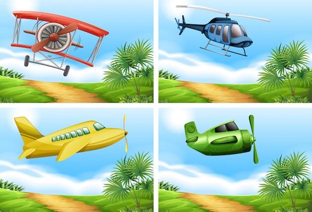 Scene con aeroplani nel cielo Vettore gratuito