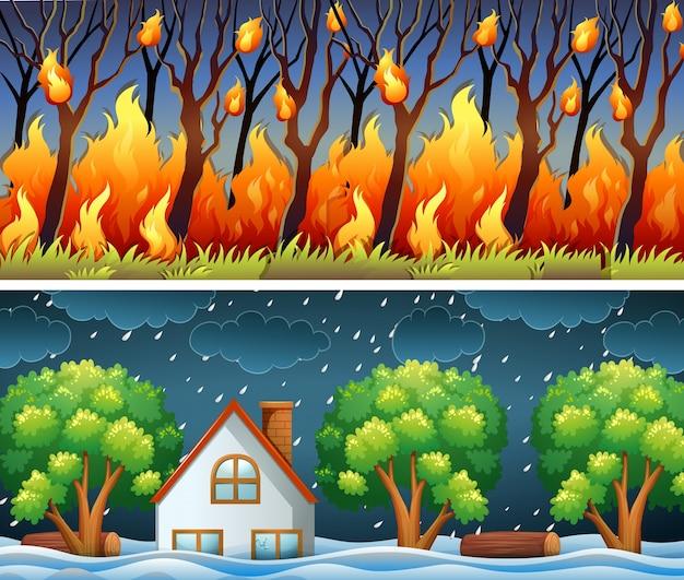 Scene con incendi boschivi e la tempesta Vettore gratuito
