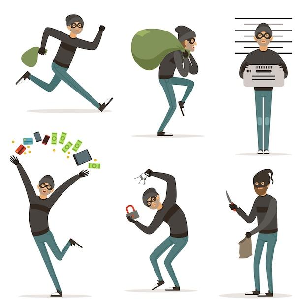 Scene di azioni diverse con bandito dei cartoni animati. Vettore Premium