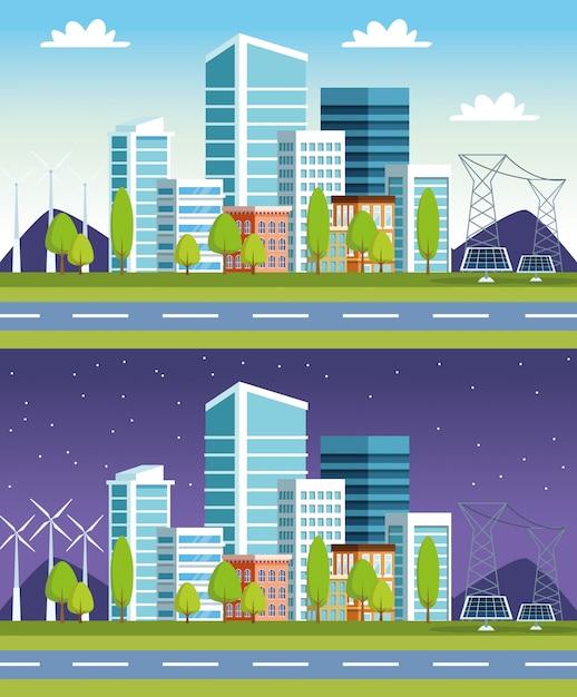 Scene di edifici e pannelli solari Vettore Premium