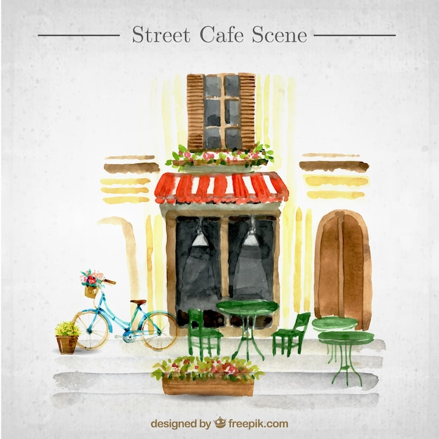 Scene di fuori di un caffè Vettore gratuito
