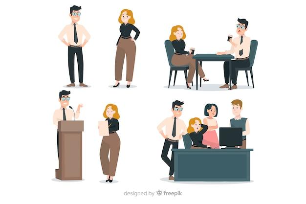 Scene di gente piatta in ufficio Vettore gratuito