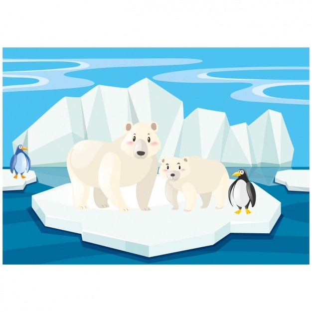 Scene di orsi polari e pinguini su un iceberg Vettore gratuito