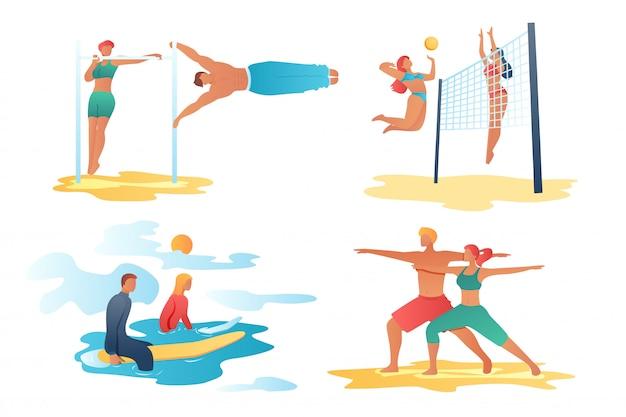 Scene di personaggi dei cartoni animati sportivi Vettore Premium