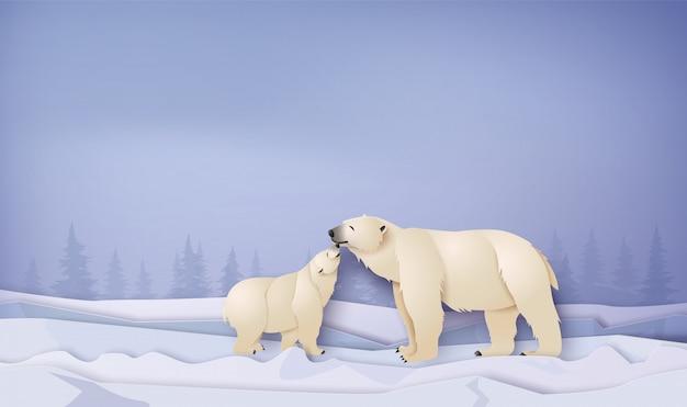 Scene invernali della fauna selvatica con orso polare Vettore Premium