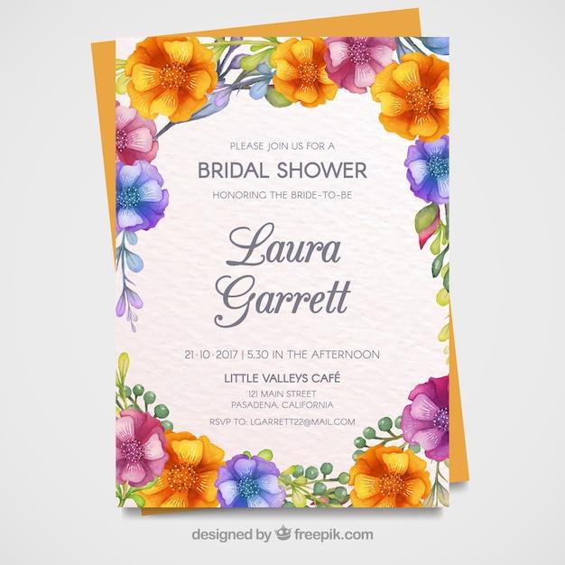 Scheda bachelorette con fiori Vettore gratuito