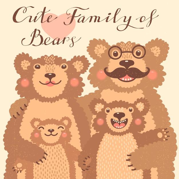 Scheda carino con una famiglia di orsi bruni. papà abbraccia mamma e figli. Vettore Premium