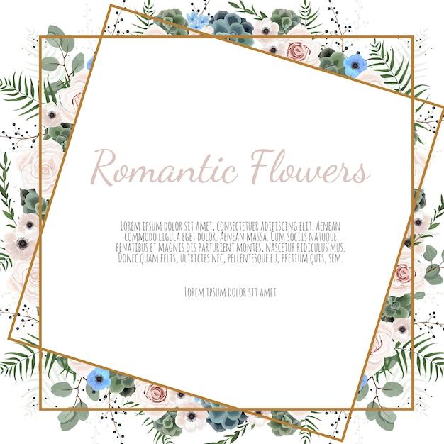 Scheda con foglie e cornice geometrica. manifesto floreale Vettore Premium