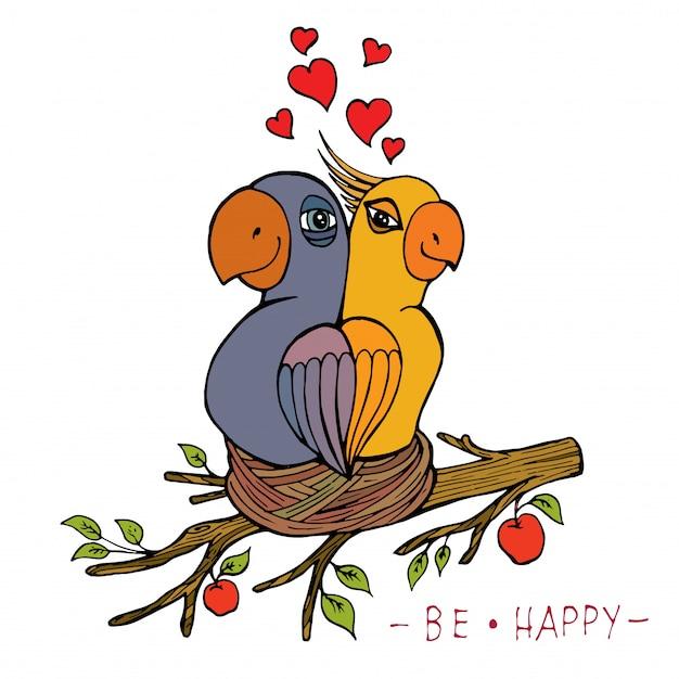 Scheda con pappagalli disegnati a mano nel nido Vettore Premium