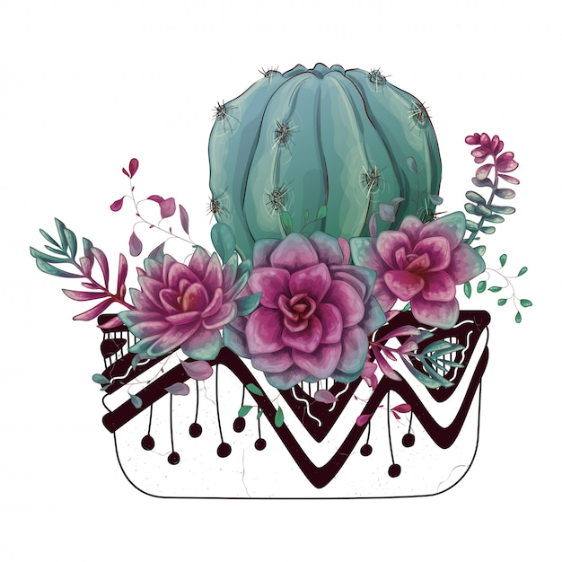 Scheda con set di cactus e succulente Vettore Premium