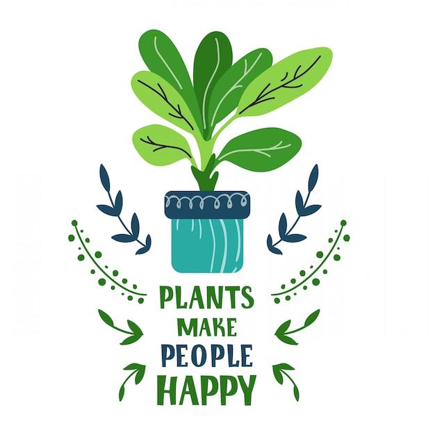 Scheda del fumetto con pianta in vaso casa, fiore, lettering Vettore Premium