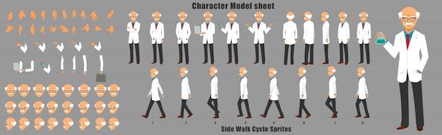 Scheda del modello di carattere dello scienziato con sequenza di animazione del ciclo di camminata Vettore Premium