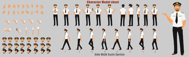 Scheda del modello di carattere pilota con sequenza di animazione del ciclo di camminata Vettore Premium