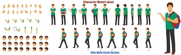 Scheda del modello di carattere studente con ciclo di animazione sequenza di animazione Vettore Premium