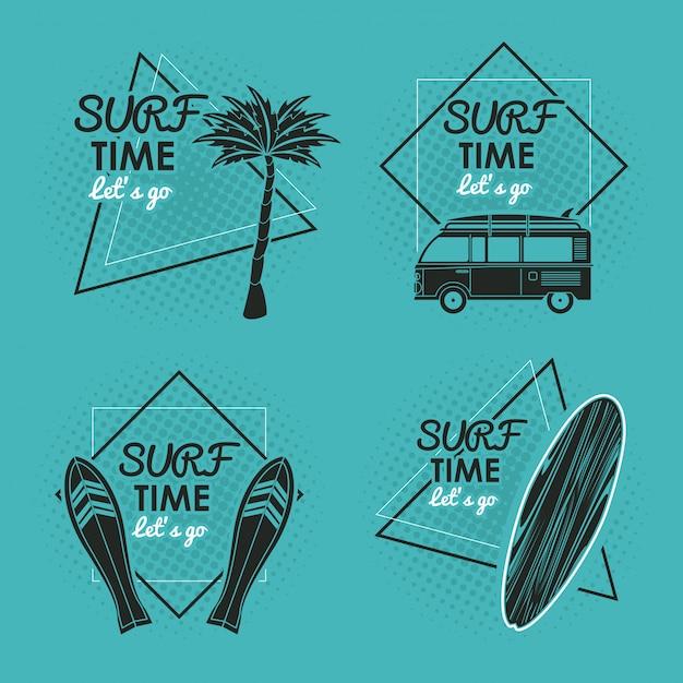 Scheda del tempo di surf Vettore Premium