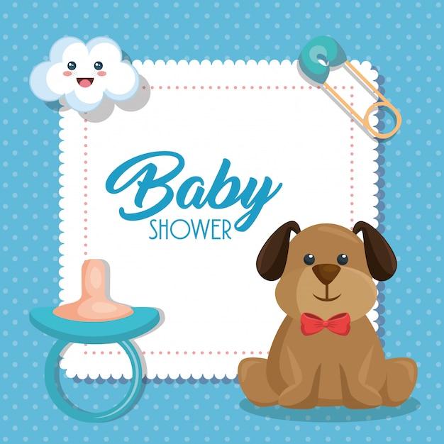 Scheda dell'acquazzone di bambino con cane carino Vettore gratuito