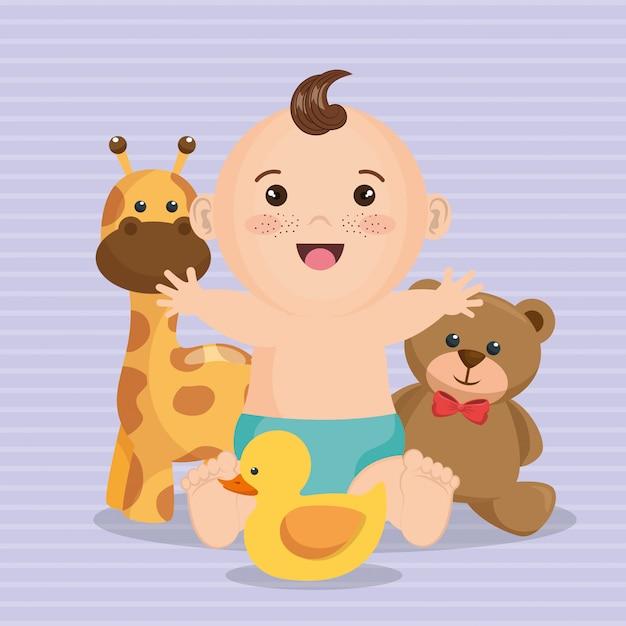 Scheda dell'acquazzone di bambino con il ragazzino Vettore gratuito