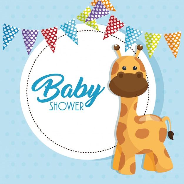 Scheda dell'acquazzone di bambino con la giraffa sveglia Vettore gratuito