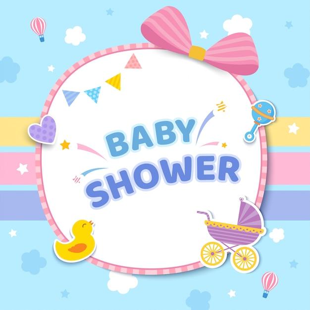 Scheda dell'acquazzone di bambino con passeggino e giocattoli su graziosi colori pastello. Vettore Premium