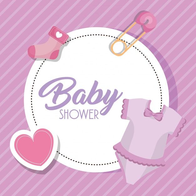 Scheda dell'acquazzone di bambino con set di icone Vettore gratuito