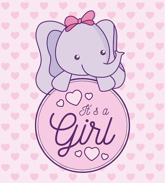 Scheda dell'acquazzone di bambino è una ragazza con un elefante carino Vettore Premium