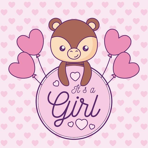 Scheda dell'acquazzone di bambino è una ragazza con un simpatico orso Vettore Premium