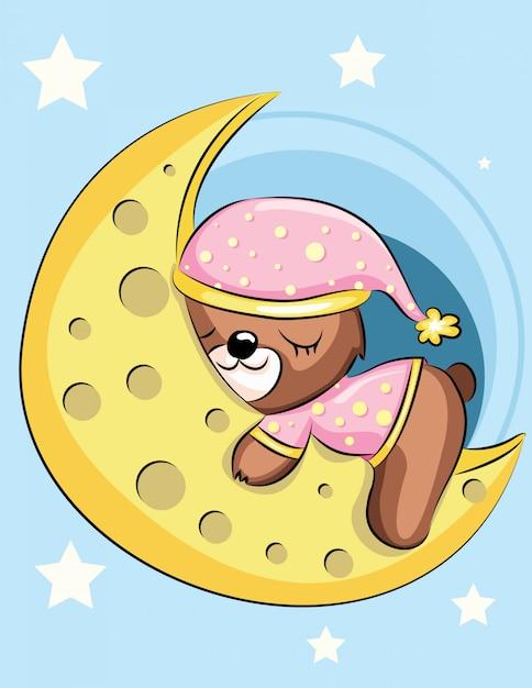 Scheda dell'acquazzone di bambino l'orso bruno addormentato sulla luna Vettore Premium