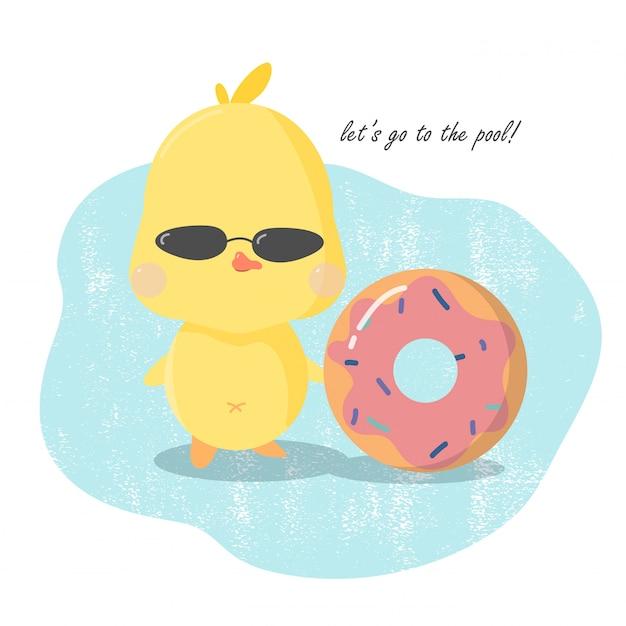Scheda dell'invito della festa in piscina carina, condotto giallo con dougnut gonfiabile. Vettore Premium