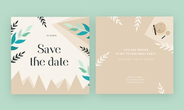 Scheda dell'invito di compleanno con priorità bassa di avventura di giungla Vettore Premium