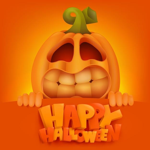 Scheda dell'invito di halloween pumpkin jack lantern. Vettore Premium