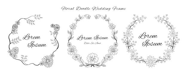 Scheda dell'invito di nozze con doodle schizzo contorno floreale e fiore ornamentale stile modello di progettazione Vettore Premium