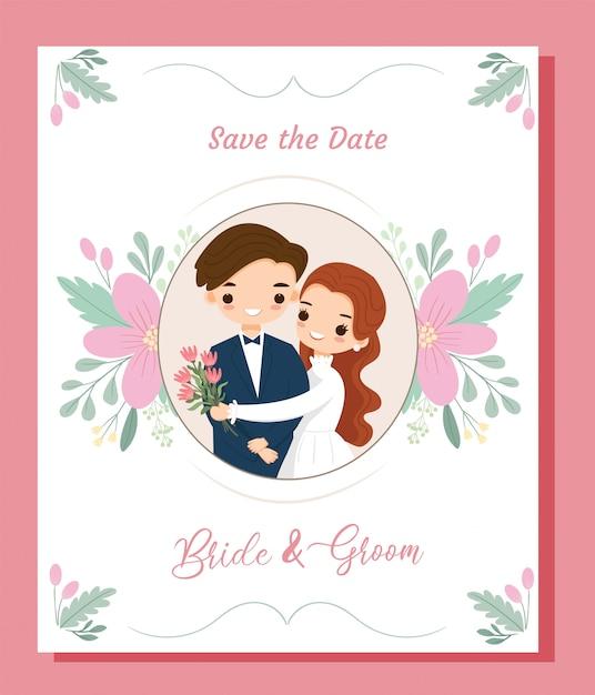 Scheda dell'invito di nozze delle coppie del fumetto della boemia sveglio con la struttura del confine del fiore Vettore Premium
