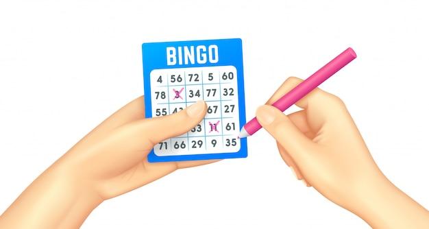 Scheda di bingo in mani umane realistiche Vettore Premium