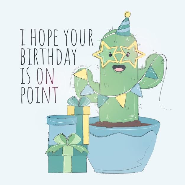 Scheda di buon compleanno cactus carino Vettore Premium