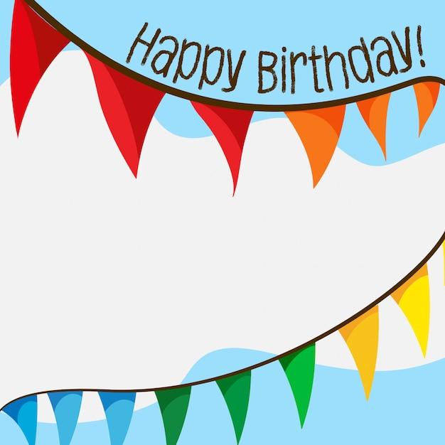 Scheda di buon compleanno con bandiere e copyspace Vettore gratuito