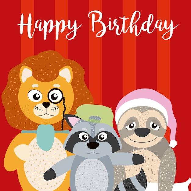 Scheda Di Buon Compleanno Con Cartoon Animali Divertenti Scaricare