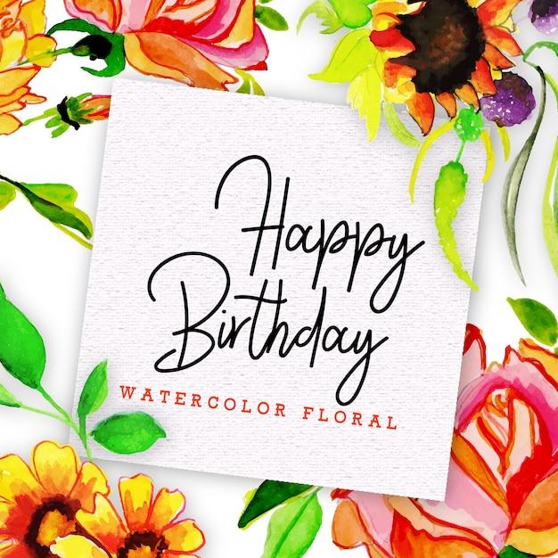 Scheda Di Buon Compleanno Con Floreale In Stile Acquerello