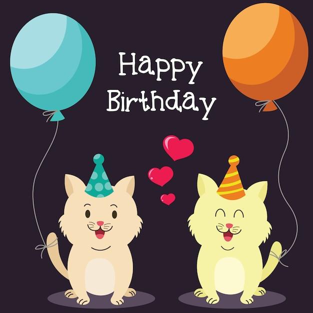 Scheda di buon compleanno con gatti carino | Scaricare vettori Premium