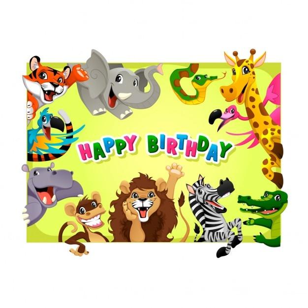Scheda di buon compleanno con gli animali della giungla del fumetto illustrazione vettoriale con telaio in proporzioni A4 Vettore gratuito