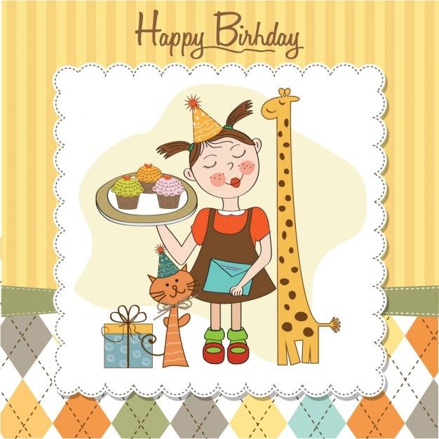 Scheda Di Buon Compleanno Con Gli Animali Ragazza Divertente E