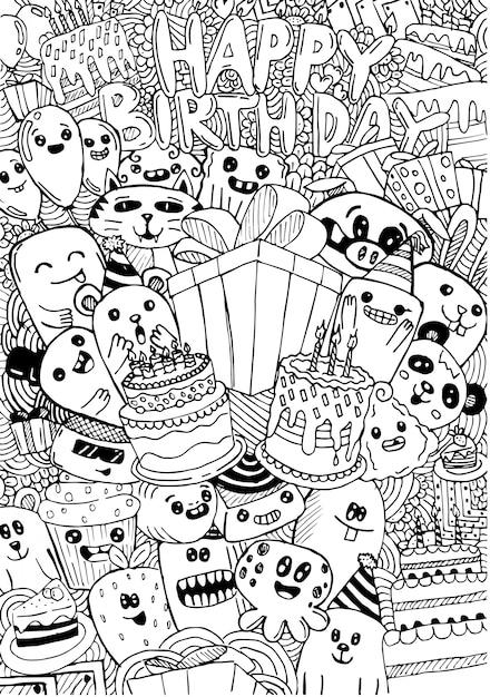 Scheda di buon compleanno con mostri svegli in stile doodle Vettore Premium