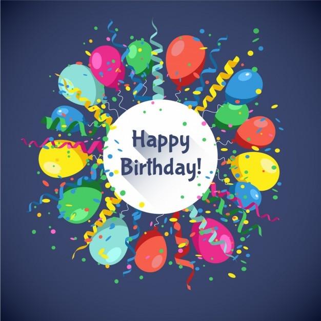 spesso Scheda di buon compleanno con palline multicolore serpentina e  TW75