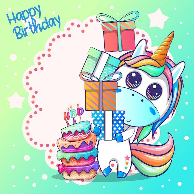 Scheda di buon compleanno con unicorno carino Vettore Premium