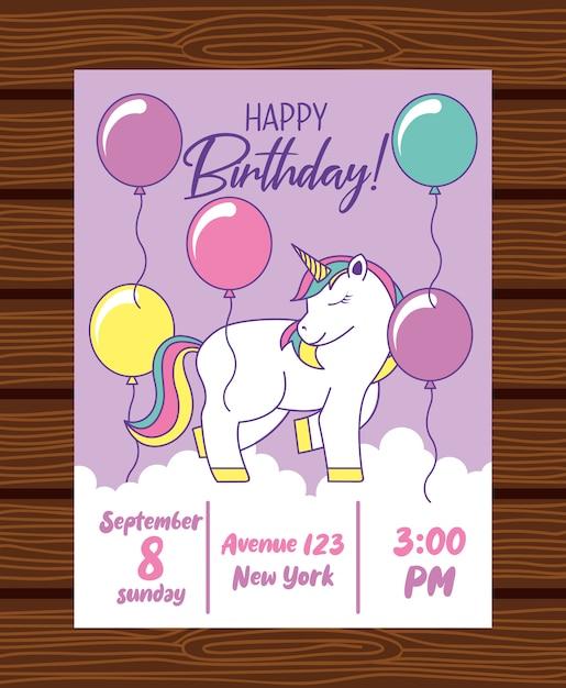 Scheda di buon compleanno con unicorno Vettore Premium