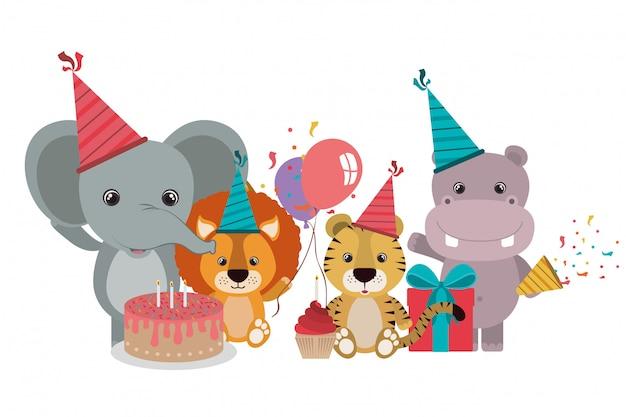 Scheda di celebrazione con animali su bianco Vettore Premium